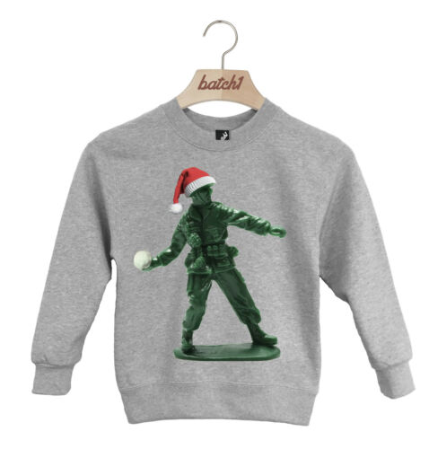 BATCH1 TOY SOLDIER WITH CHRISTMAS HAT FESTIVE XMAS KIDS SWEATSHIRT JUMPER