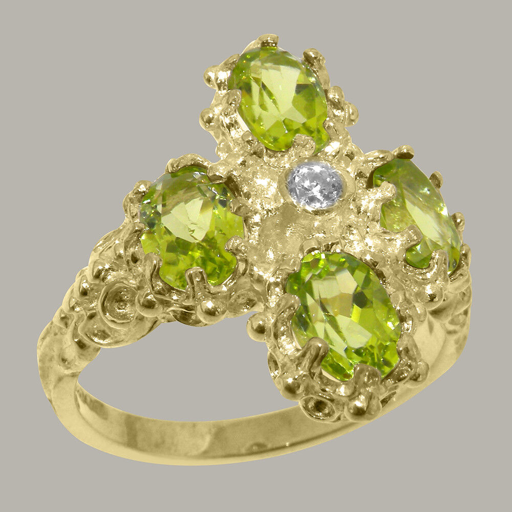 14ct Yellow gold Cubic Zirconia & Peridot Womens Cluster Ring - Sizes J to Z