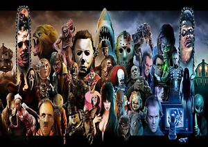 A1 - A5 SIZES AVAILABLE HORROR MOVIE COLLAGE GLOSSY WALL ART POSTER PRINT
