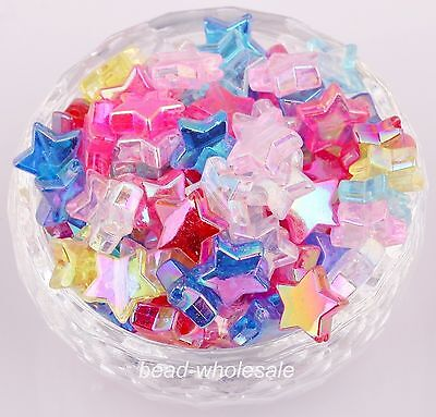 50pcs Mixed AB Color  Acrylic Spacer Beads Star Shape Pentacle-Shape  11mm