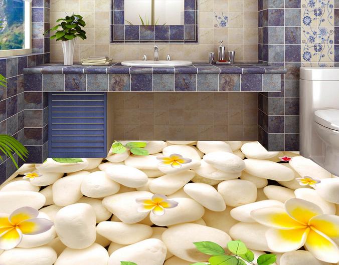 3D Petals Leaf Stones 7 Floor WallPaper Murals Wall Print Decal AJ WALLPAPER US