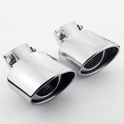 "3/"" Inlet RS6 RS7 RS5 RS8 RS3 RS4 TT RS Style Exhaust Tips Oval Polished One Pair"