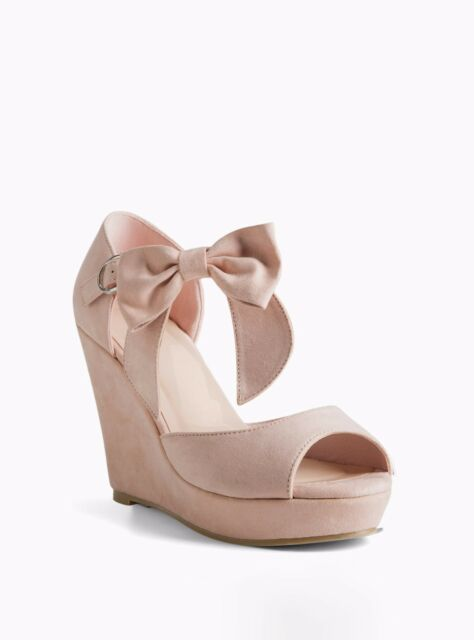 c612470777d Torrid Ankle Bow Faux Suede Wedges Wide Width Blush Pink 11  1410