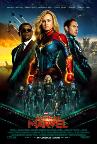 Y216 Captain Marvel 2019 Movie Brie Larson Art Sikl Poster Custom 36 32x48inch