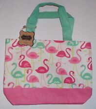 "Mud Pie mini jute tote bag, NWT FLAMINGO 11"" by 8"" pink and  green, Last One"
