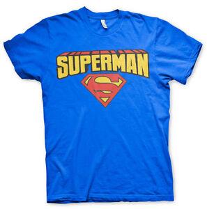 T-shirt-HOMME-BLEU-SUPERMAN-LOGO-Taille-S-M-Neuf-emballe-TS-BATMAN-DC-COMICS