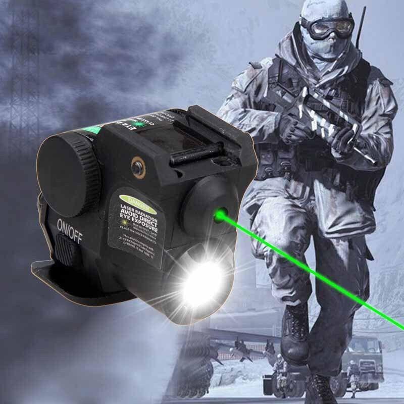 Tactical Green Dot Laser Q5 LED Flashlight Combo fit 20mm Rail Pistol Picatinny