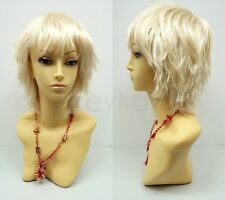 Blonde Short Wig Shag Pixie Wind Blown Synthetic Cosplay Lolita