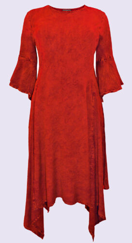 Eaonplus RED Butter Soft Hanky Hem Mythical Ways Dress Sizes UK 18 to 32 NEW