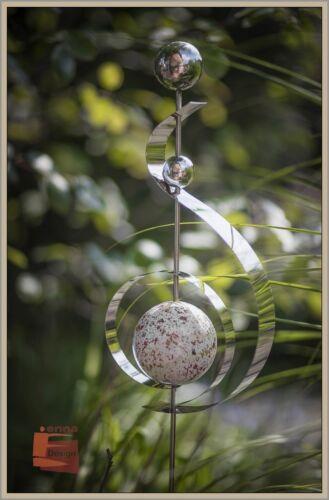Stele Rosenstab Gartenstecker Edelstahl Kugeln rot-weiss marmoriert 100 cm *NEU*
