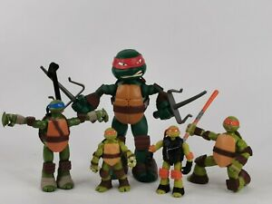 Teenage Mutant Ninja Turtles Pacote trabalho Lote Bonecos Viacom 2014 Raro Spinning