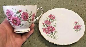 England ROYAL VALE TEA CUP & SAUCER SET Bone China Ridgway Potteries Pink Floral