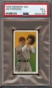 Rare 1909-11 T206 Jim Stephens Piedmont 350 St. Louis PSA 3.5 VG +