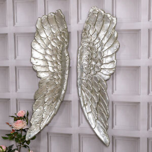 Extra Large Antique Silver Angel Wings Decorative Wall Mounted