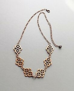 Statement-Celtic-style-pattern-necklace-copper-tone-chain-glam-jewellery