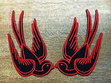 Lot of 2 bird tattoo swallow dove sparrow biker appliques iron-on patches Red