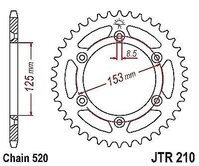 Honda CR500 RE,RF1984-1985 JT Rear Sprocket JTR210-51 Tooth
