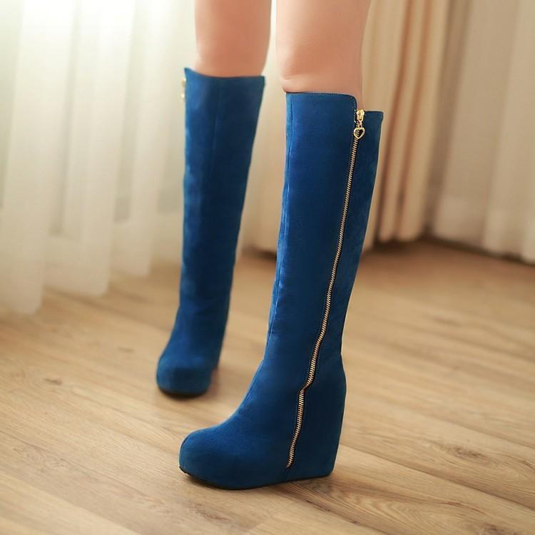 Women's lady Knee High Boots hidden Wedge Heel Platform side Zip High Heel shoes