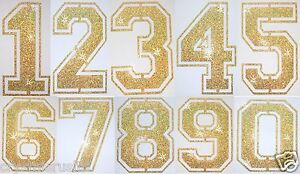 FABRIC GLITTER SEQUIN GOLD FOOTBALL NUMBER IRON-ON BLING TSHIRT TRANSFER PATCH