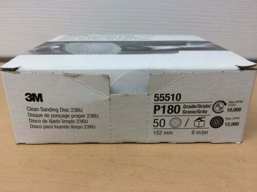 """3M Clean Sanding Disc 6/"""" PACK of 50 236U Grade P180 55510 New Free Shipping"""