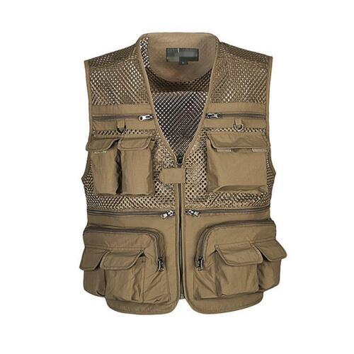 Men Multi-Pocket Fishing Mesh Vest Photography Quick-Dry Supply Vest Zip Ja F7N4