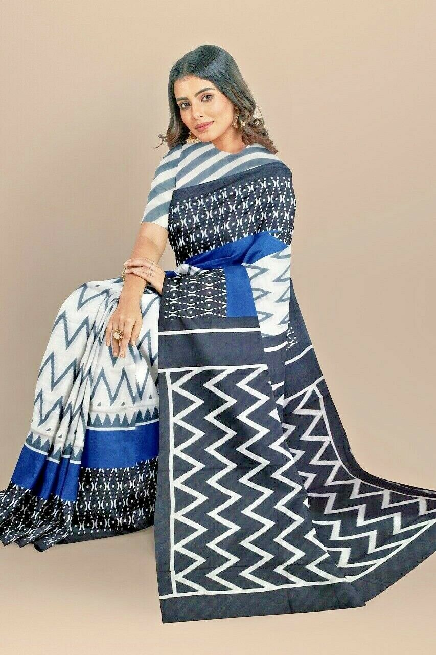Handloom Beautifull New Block Printed Cotton Saree With Blouse For Women & Girl