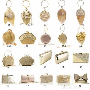 Womens-Gold-Clutch-Bag-Ladies-Wedding-Bridal-Prom-Party-Purse-Evening-Handbag