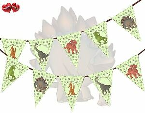 Jurassic-Collection-Dinosaurs-Assorted-Mix-Green-Bunting-Banner-15-flags-12ft