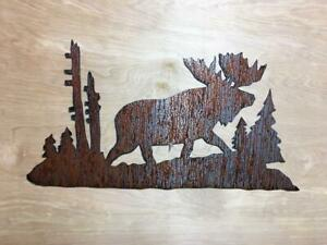 Details About Rustic Metal Wall Art Moose Trees Nature Forest Home Decor Hunting Cabin Lodge