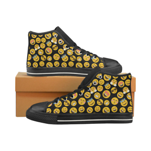 Funny Emoji Pattern Lace Up Sneakers Classic High Top Canvas shoes for Women