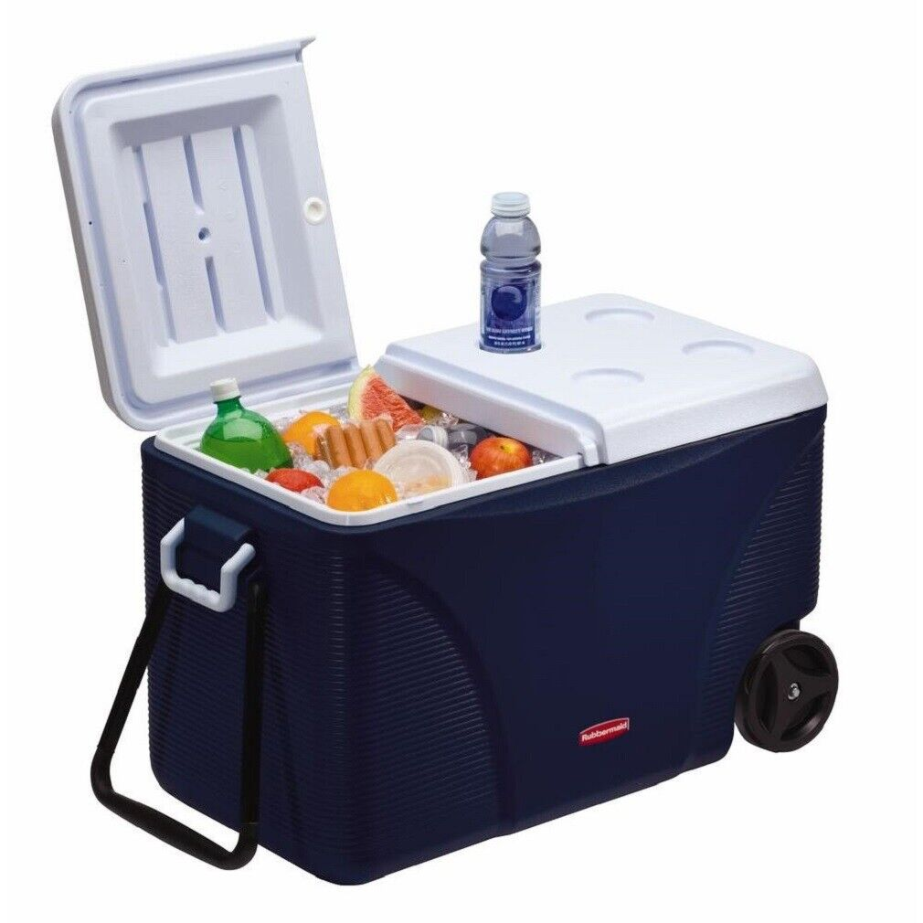 75 cuartos de galón Rubbermaid Azul Con Ruedas Enfriador al aire libre campamento picnic 5 días pecho de hielo
