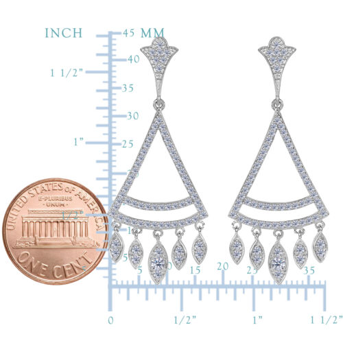 Details about  /Sterling Silver With Rhodium Plating Finish And CZ Triangle Chandelier Earrings