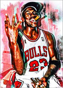 2021 Michael Jordan Bulls Basketball 22/25 Art ACEO Champion Print Card By:Q