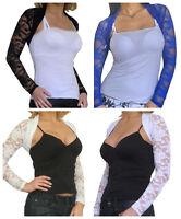 Lace Bolero Shrug Ladies Long Sleeve Cropped Cardigan Top Size New 8 10 12 14 16