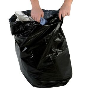 "100 x Heavy Duty Black Bin Bag Liner Refuse Sacks 150L Capacity 20x34x47/"" 160G"
