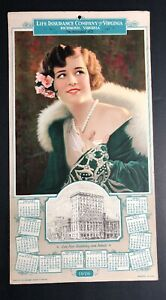1926-Calendar-Sign-Advertising-Insurance-Richmond-Virginia-Pretty-Flapper-Girl