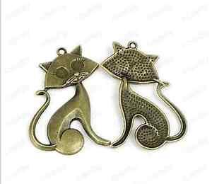 5pc-Retro-Bronze-cat-pendant-Bead-Charms-Accessories-wholesale-PT1902