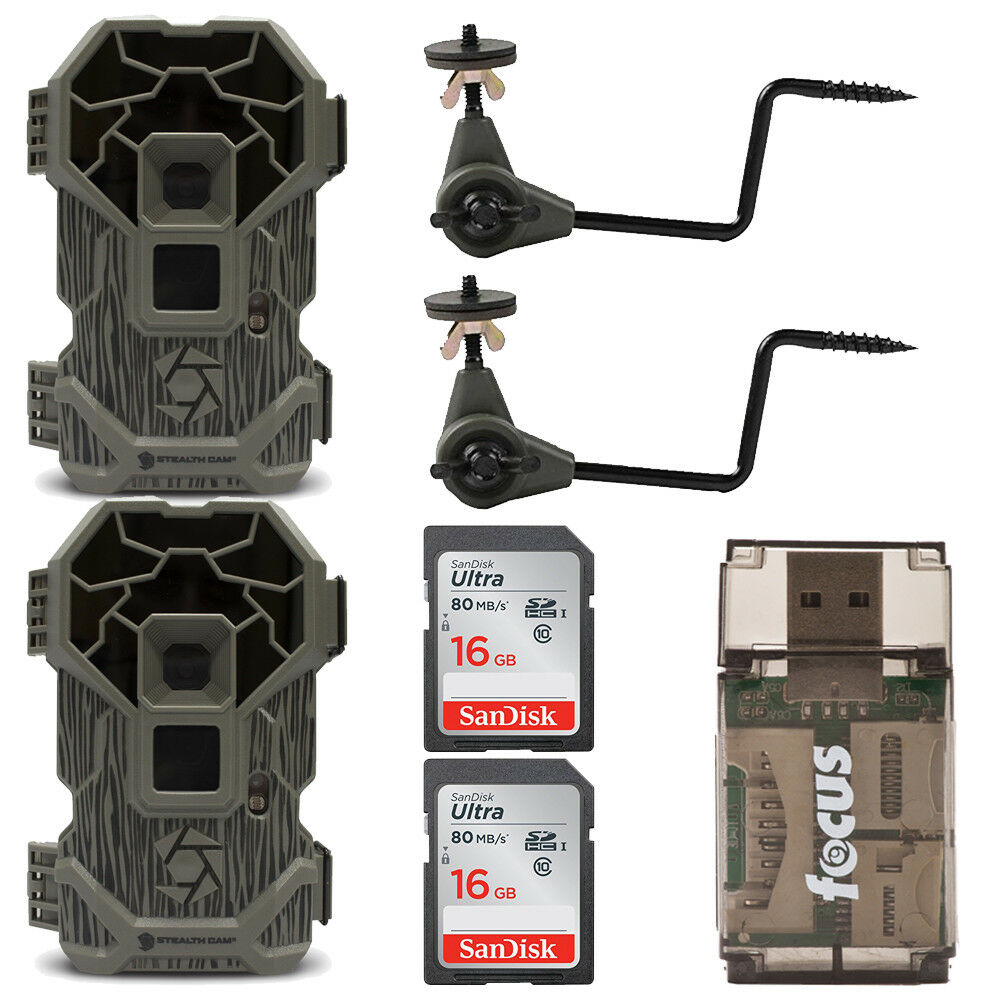 Stealth Cam  PXP18 Pro Trail Camera (2x) with 16GB Cards, Holders and USB Reader  best quality best price