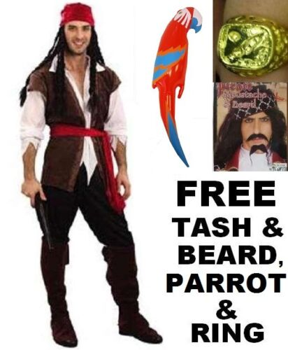 Parrot /& Ring New Caribbean Pirate Fancy Dress Costume /& Free Beard Set