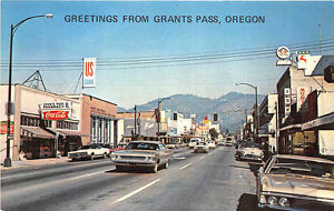 Details about Grants Pass OR Street View Store Fronts Music Shop Old Cars  Postcard