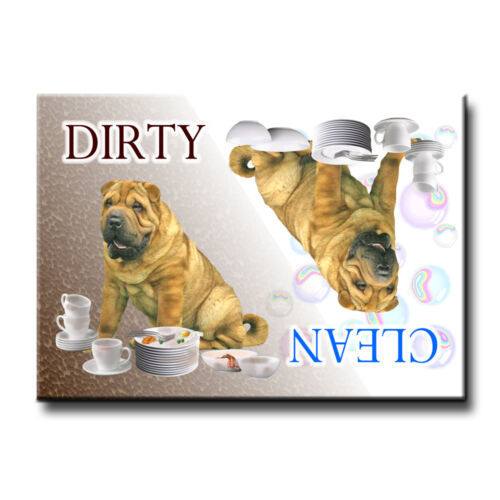 SHAR PEI Clean Dirty DISHWASHER MAGNET Must See DOG