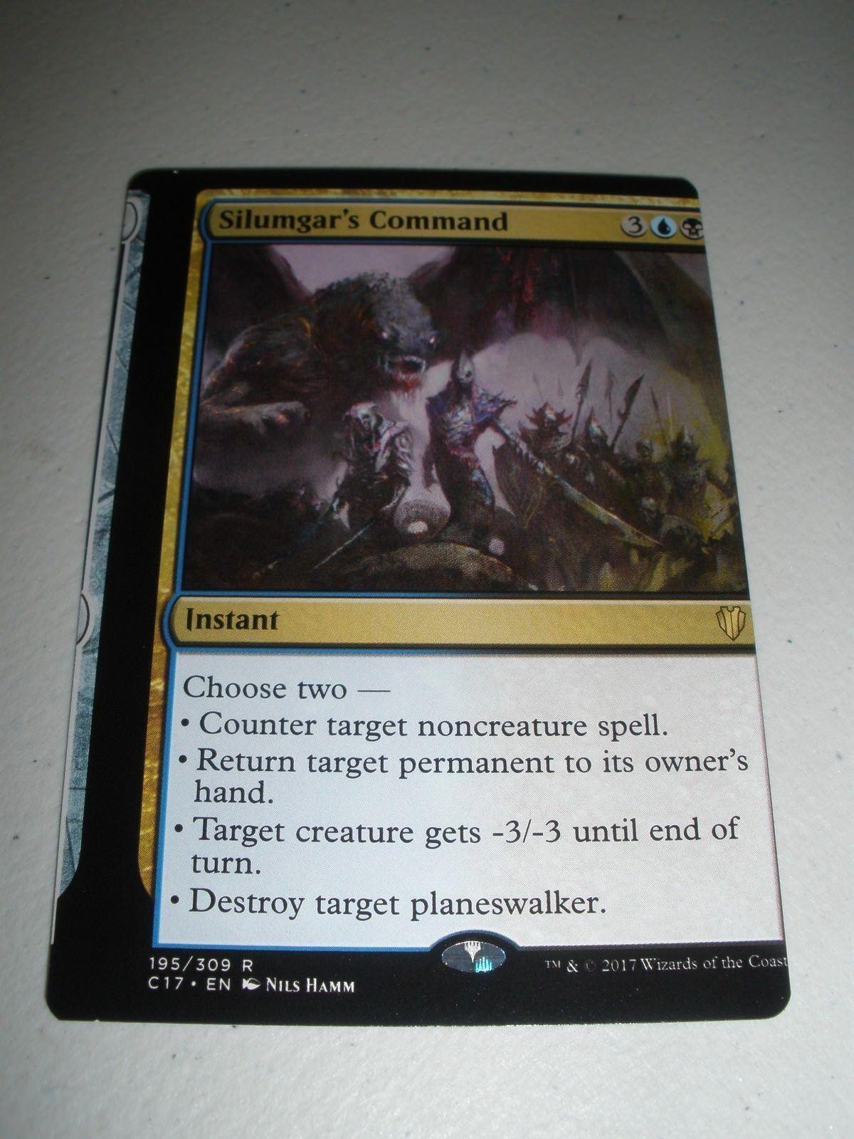 MTG Magic Commander Miscut Misprint Silumgar's Command x1 NM