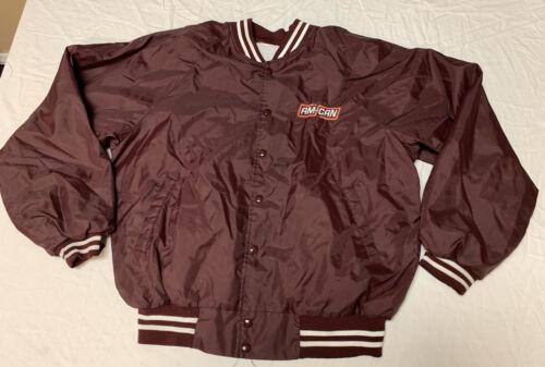 Vtg 80s Am Can Maroon Bomber Nylon Jacket Sz Mediu