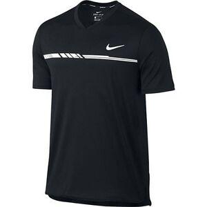 Nike-de-salon-Seco-CHALLENGER-HOMBRE-Manga-Corta-Tenis-Top-039-Negro-039-830897-010