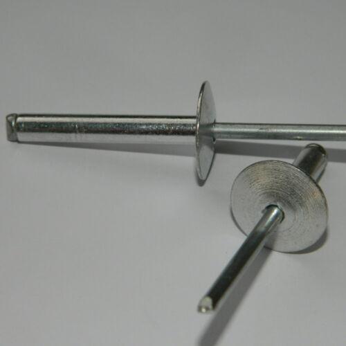 100 Stk. Großkopf Blindnieten  4,8x22 K16 ALU/Stahl