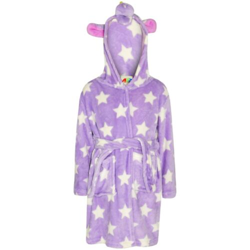 Kids Girls Bathrobe 3D Animal Unicorn Lilac Star Fleece Dressing Gown 2-13 Years