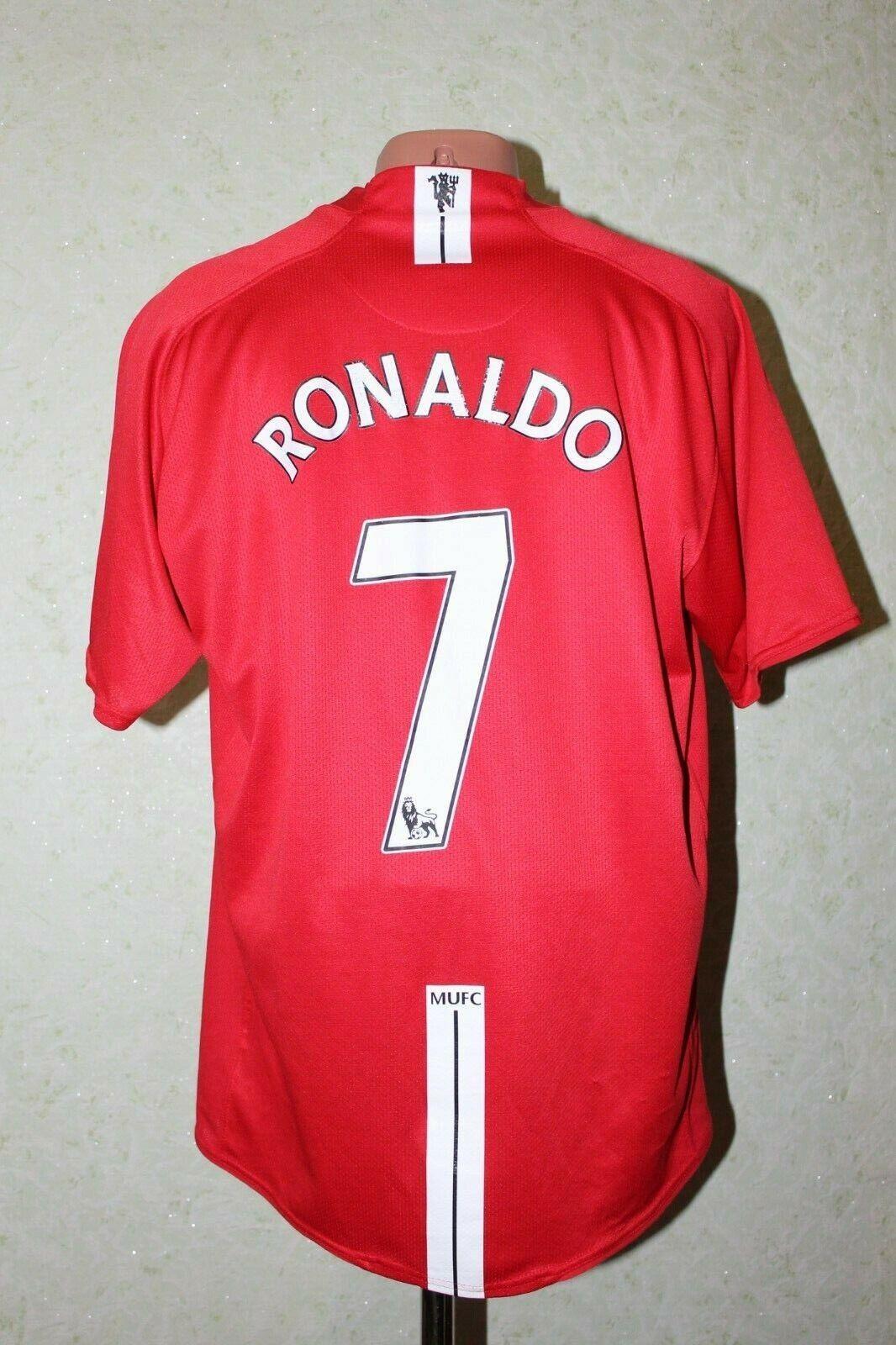 Manchester UNITED FOOTBALL SHIRT JERSEY CALCIO 2007 2008 2009 Home  7 Ronaldo XL