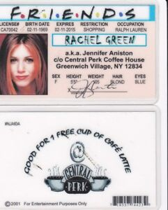 Id Fake License Friends Ny Rachel Aniston Anniston Green Ebay Drivers Jennifer Card