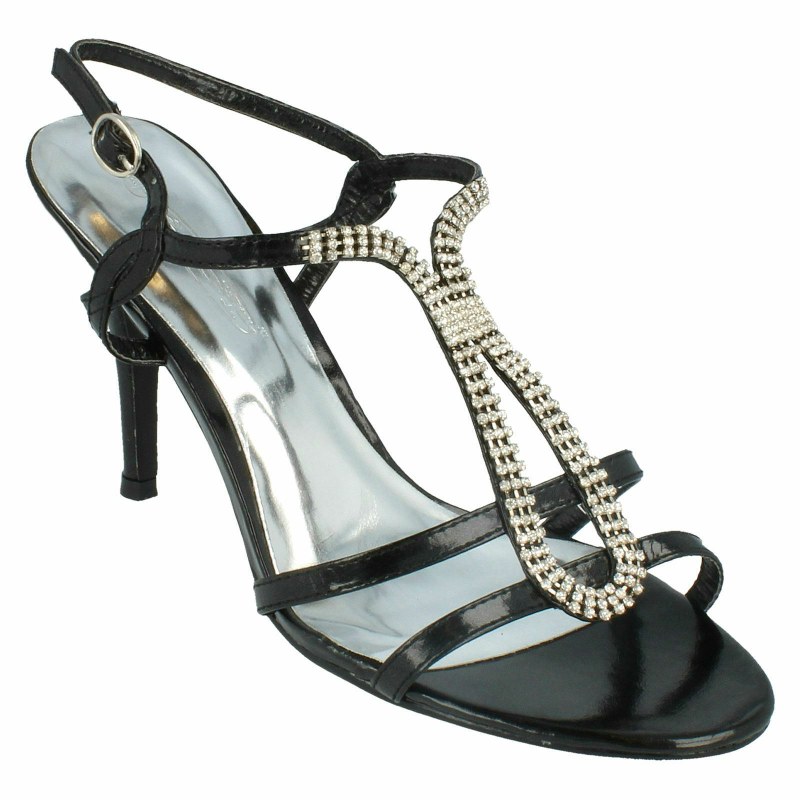 SALE LADIES SPOT ON F1690 DIAMANTE STRAPPY SLING BACK  HIGH HEEL EVENING SANDALS