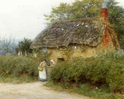Cottage in Surrey by Helen Allingham Old England Garden Flowers Women   0135